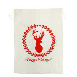 Christmas Gift Bags Large Organic Heavy Canvas Bag Drawstring Bag With Reindeer -