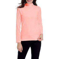 Women's Solid Color Turtleneck Long Sleeve Velour Bottom Tops Tee T-shirt -