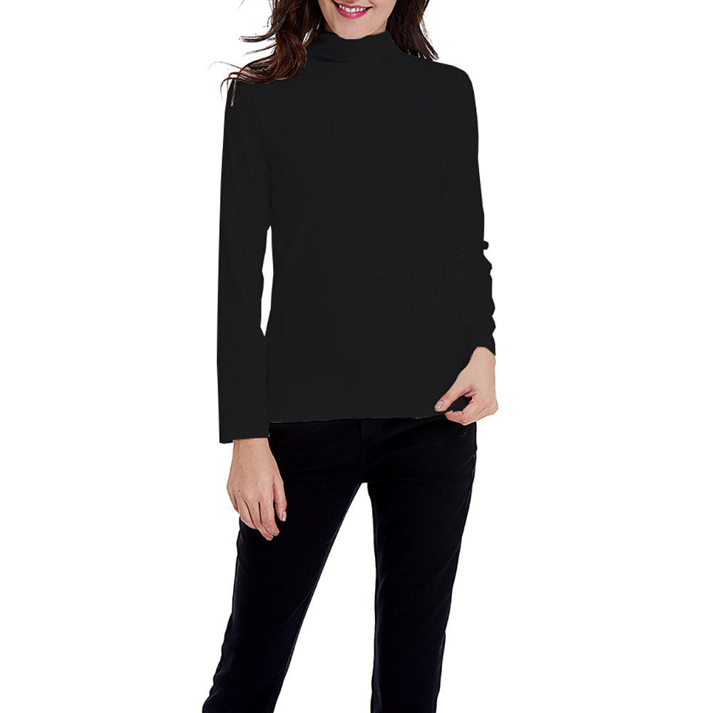 Online Women's Solid Color Turtleneck Long Sleeve Velour Bottom Tops Tee T-shirt
