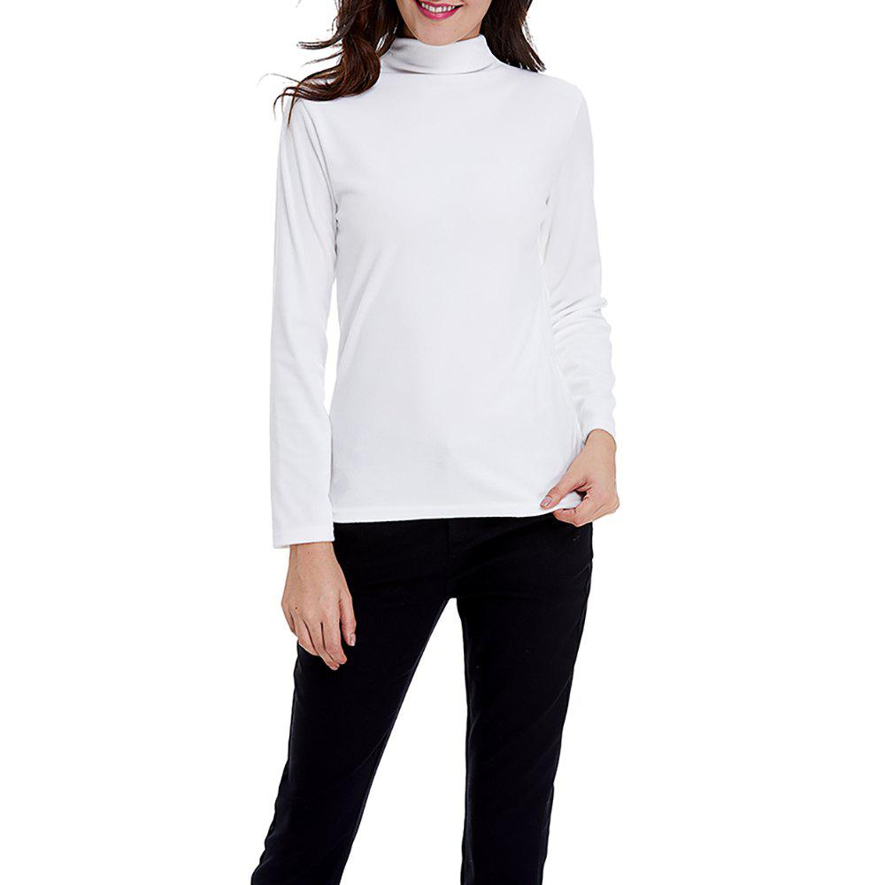 Best Women's Solid Color Turtleneck Long Sleeve Velour Bottom Tops Tee T-shirt