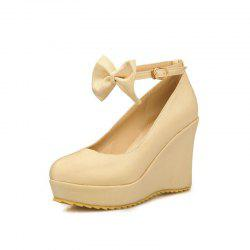 Thick Bottom Bow Bow Head Fashionable Wedding Shoes -