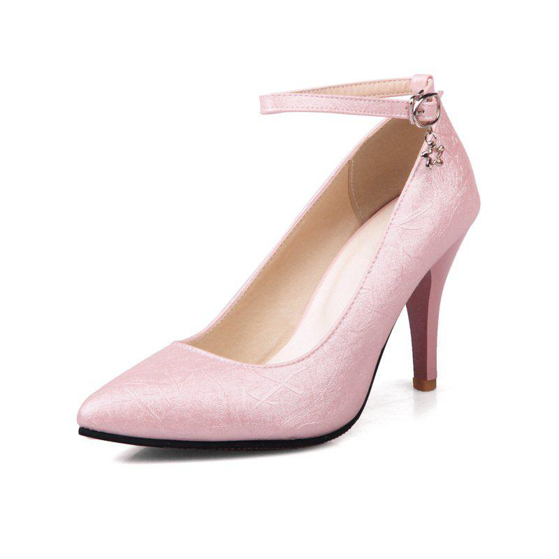 Trendy High Heel Pendant Pointed Head Buckles Wedding Shoes