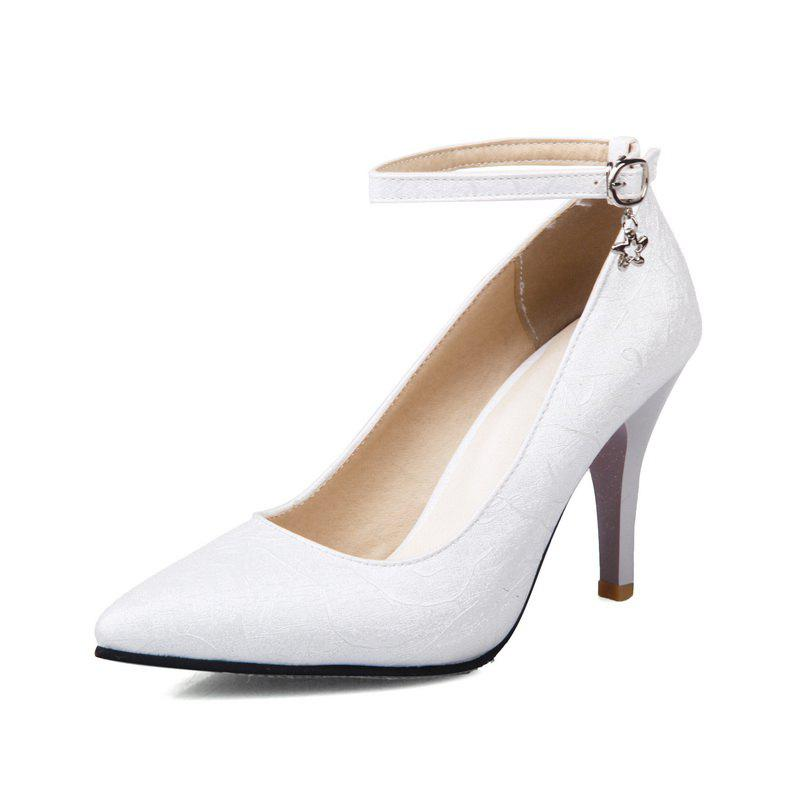 Latest High Heel Pendant Pointed Head Buckles Wedding Shoes