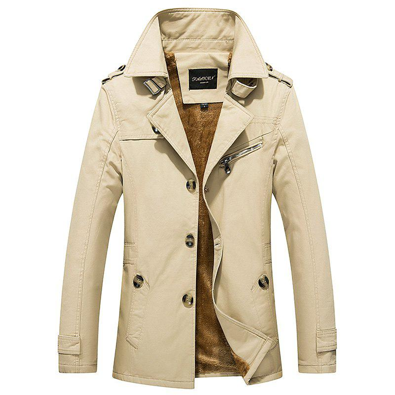 Hot Winter 2018 Men's Single Breasted Lapel New Imitation Wool Mid-Length Jacket