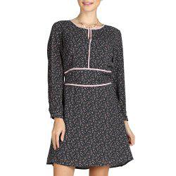 SBETRO Floral Print Dress O Neck Long Sleeve Fashion Officewear Ladies -