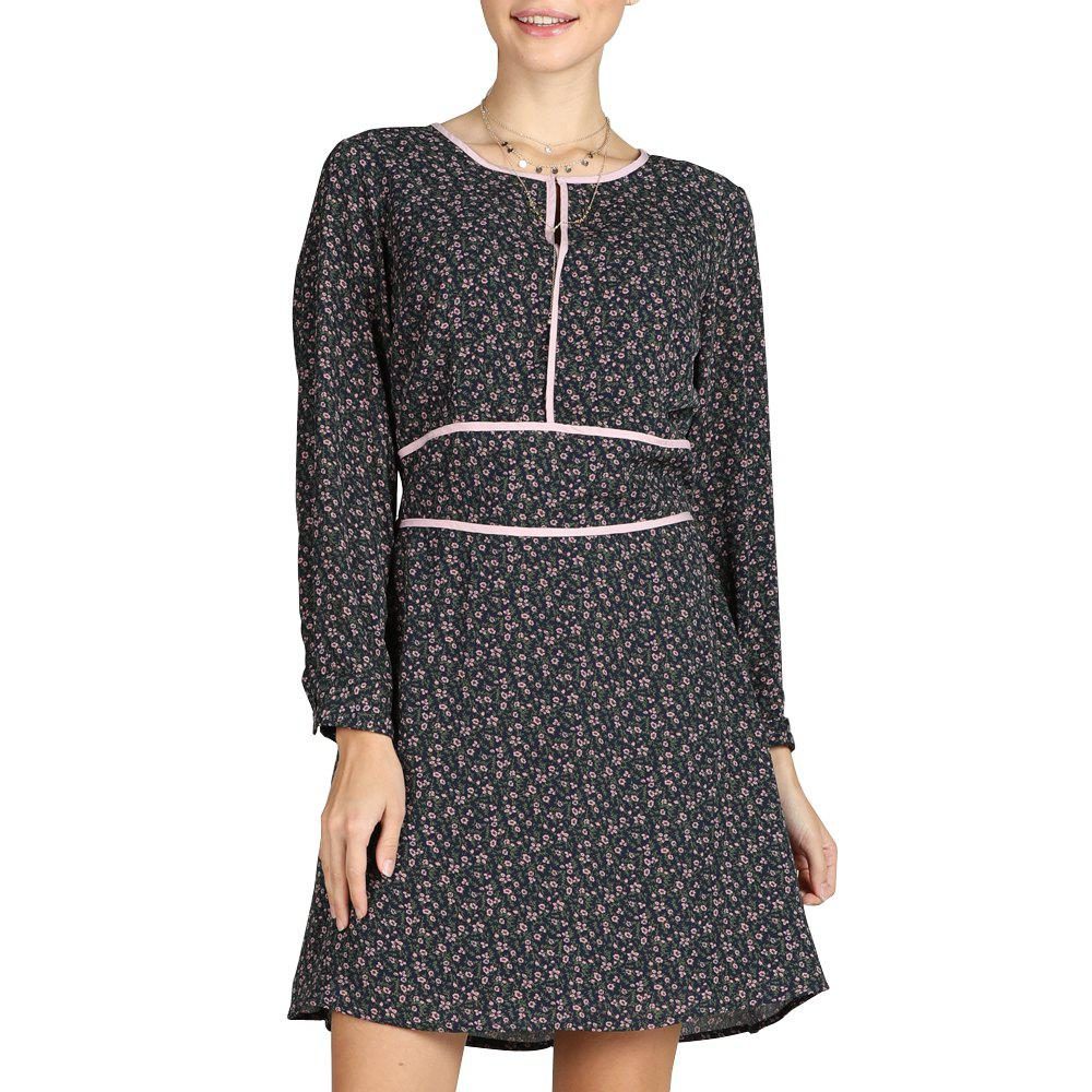 Unique SBETRO Floral Print Dress O Neck Long Sleeve Fashion Officewear Ladies