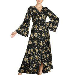 SBETRO Floral Print Dress Flare Sleeve Ankle Length Beach Maxi Dress Party -