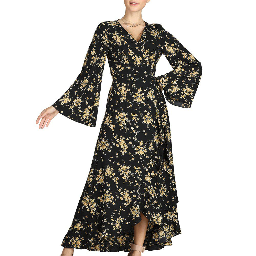 Fashion SBETRO Floral Print Dress Flare Sleeve Ankle Length Beach Maxi Dress Party