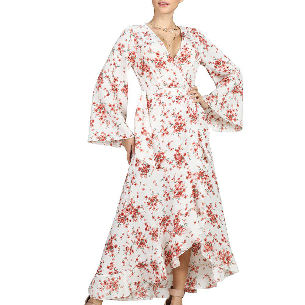 Cheap SBETRO Floral Print Dress Flare Sleeve Ankle Length Beach Maxi Dress Party