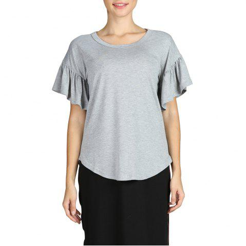 SBETRO Grey Scoopneck Ruffle Short Sleeve Shirttail Hem Tee Top Fashion Basic
