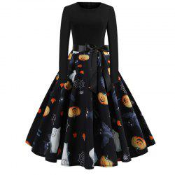 Halloween Print Splicing Long-Sleeved Dress -
