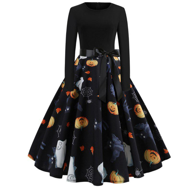 Fashion Halloween Print Splicing Long-Sleeved Dress