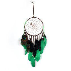 Pendentif Dreamcatcher Natural Peacock Plume -