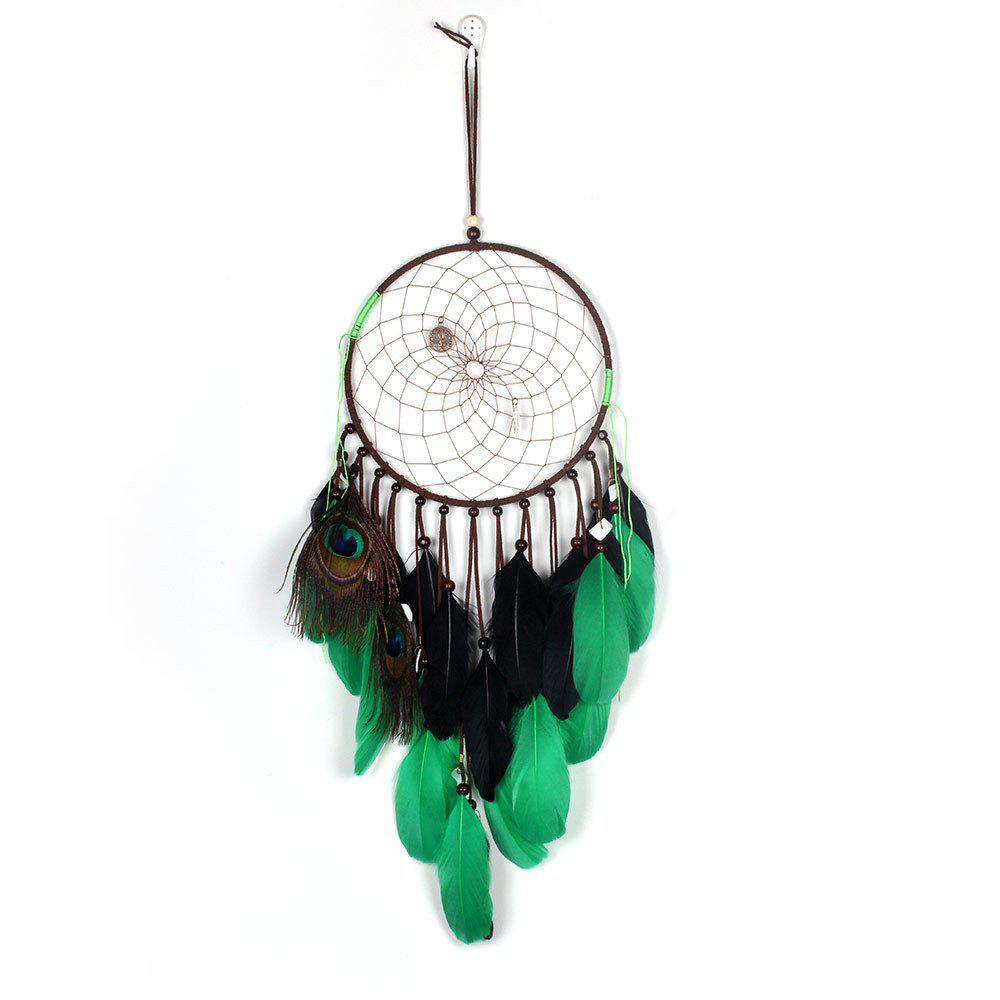 Pendentif Dreamcatcher Natural Peacock Plume