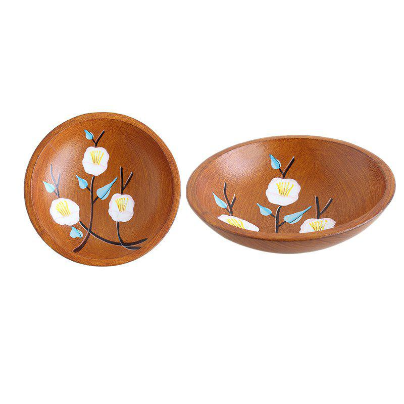 Discount 2PCS Chinese Wood Handpainted Pastoral Style Wooden Fruit Tray