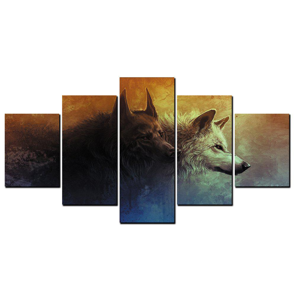 Trendy YISHIYUAN 5 Pcs HD Inkjet Paints Abstract Wolf Dog Animal Decorative Painting