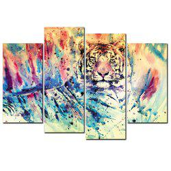 YISHIYUAN 4 Pcs HD Inkjet Paints Abstract Color Tiger Animal Decorative Painting -