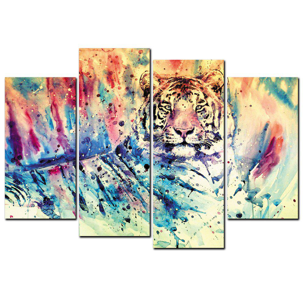 Buy YISHIYUAN 4 Pcs HD Inkjet Paints Abstract Color Tiger Animal Decorative Painting