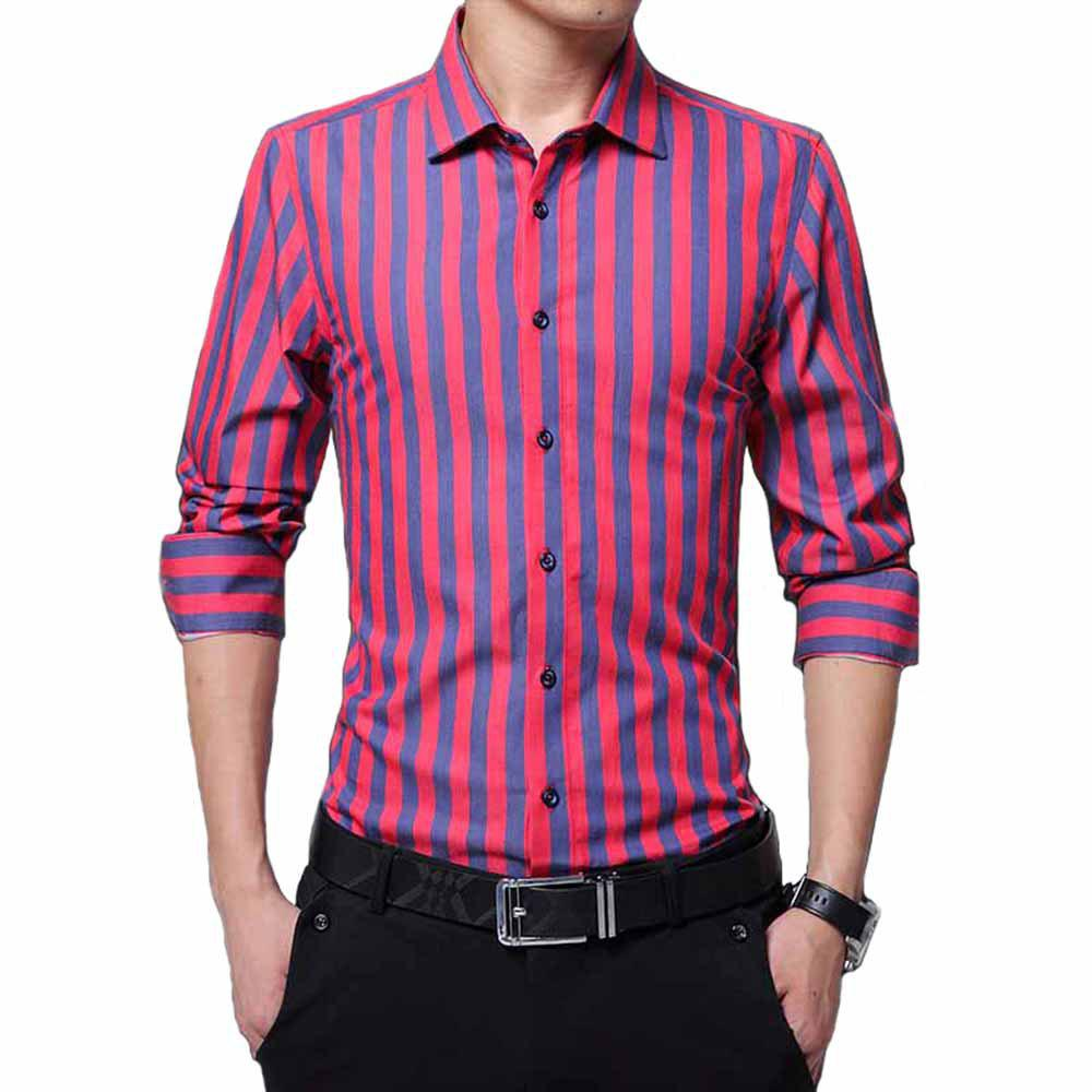 2019 Mens Large Long Sleeved Shirts Business Casual Shirts Striped
