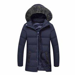 Winter Male Hair Collar Cotton Coat Jacket Long Cotton Jacket -