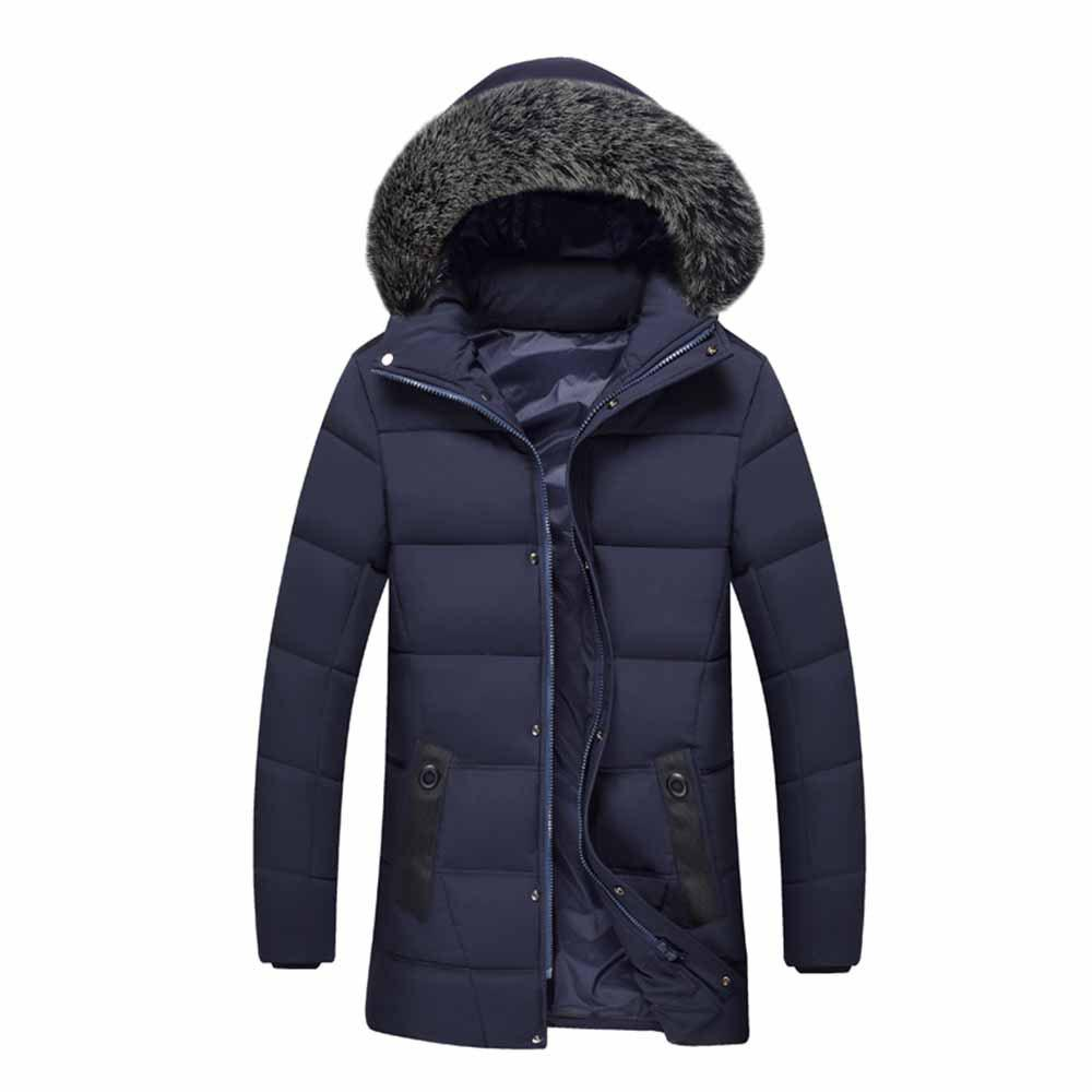 Buy Winter Male Hair Collar Cotton Coat Jacket Long Cotton Jacket