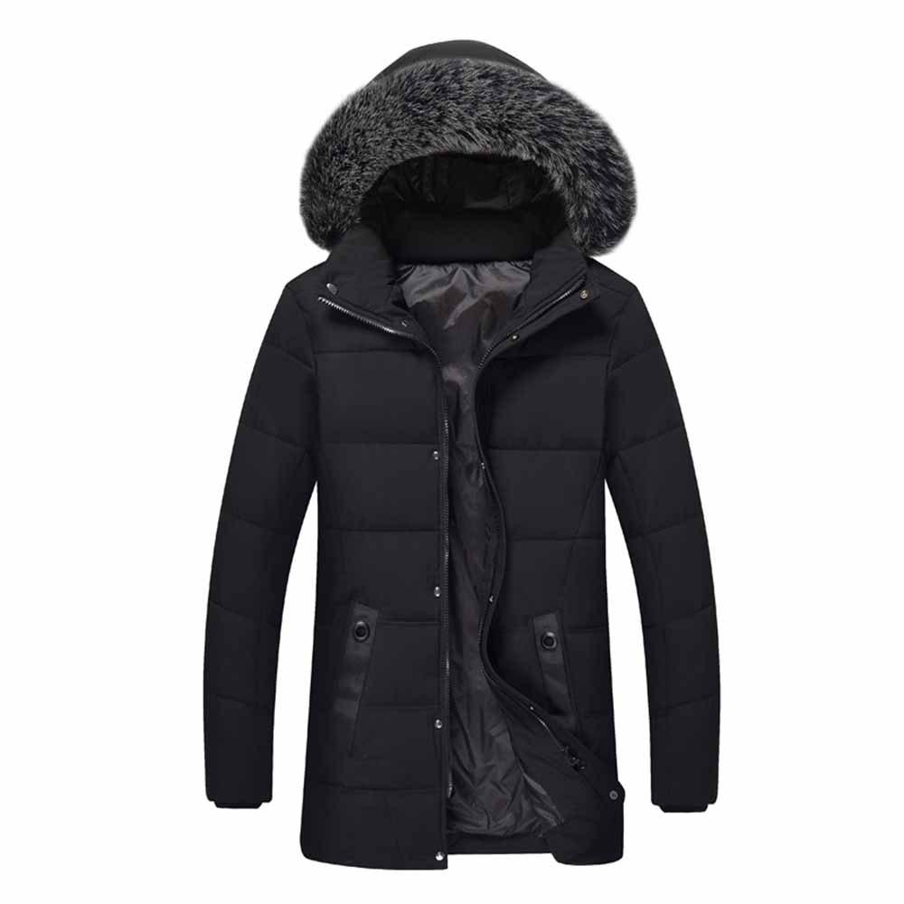 Fashion Winter Male Hair Collar Cotton Coat Jacket Long Cotton Jacket
