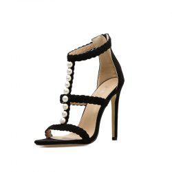 Women's Stiletto Open Toe High Heels Elegant Party Sandals with Pearl -