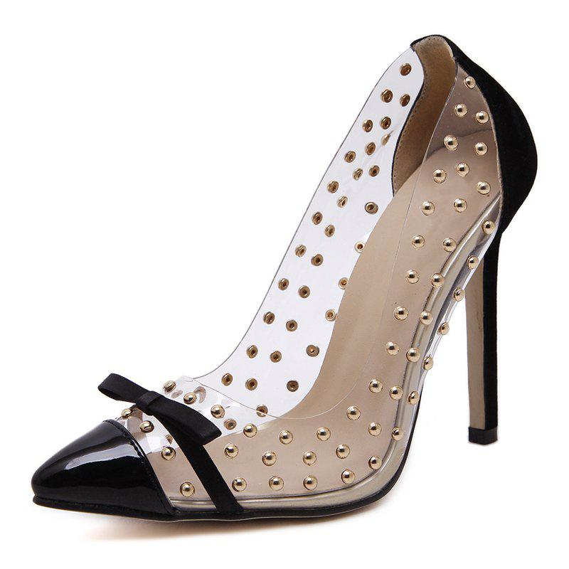 Unique Women's Pointed Toe Stiletto Pumps Slim Party Shoes with Rivets