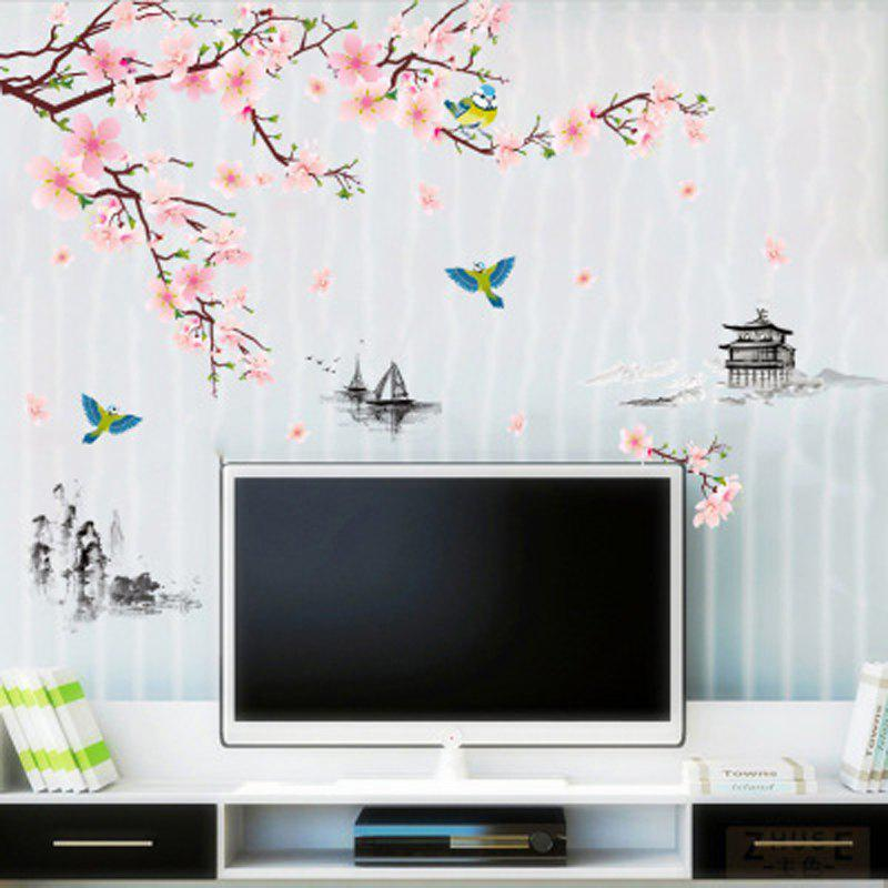 Trendy New Ink Peach Gazebo TV Background Wall Sofa Living Room Study