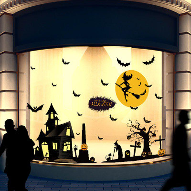 Trendy Halloween Witch Wall Sticker Shop Decorating Window Glass Doors and Windows