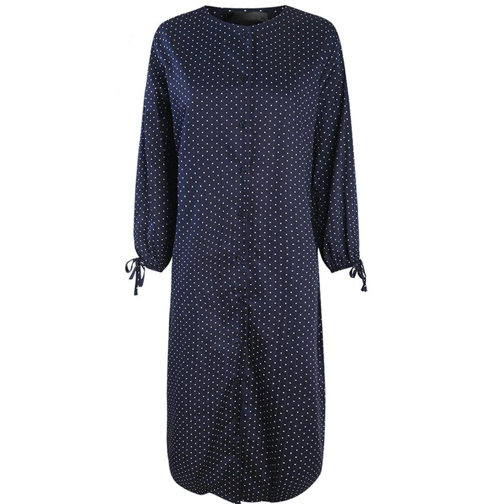 Discount HAODUOYI Women's Lzay Dot Sleeve Tie Dress Multicolor