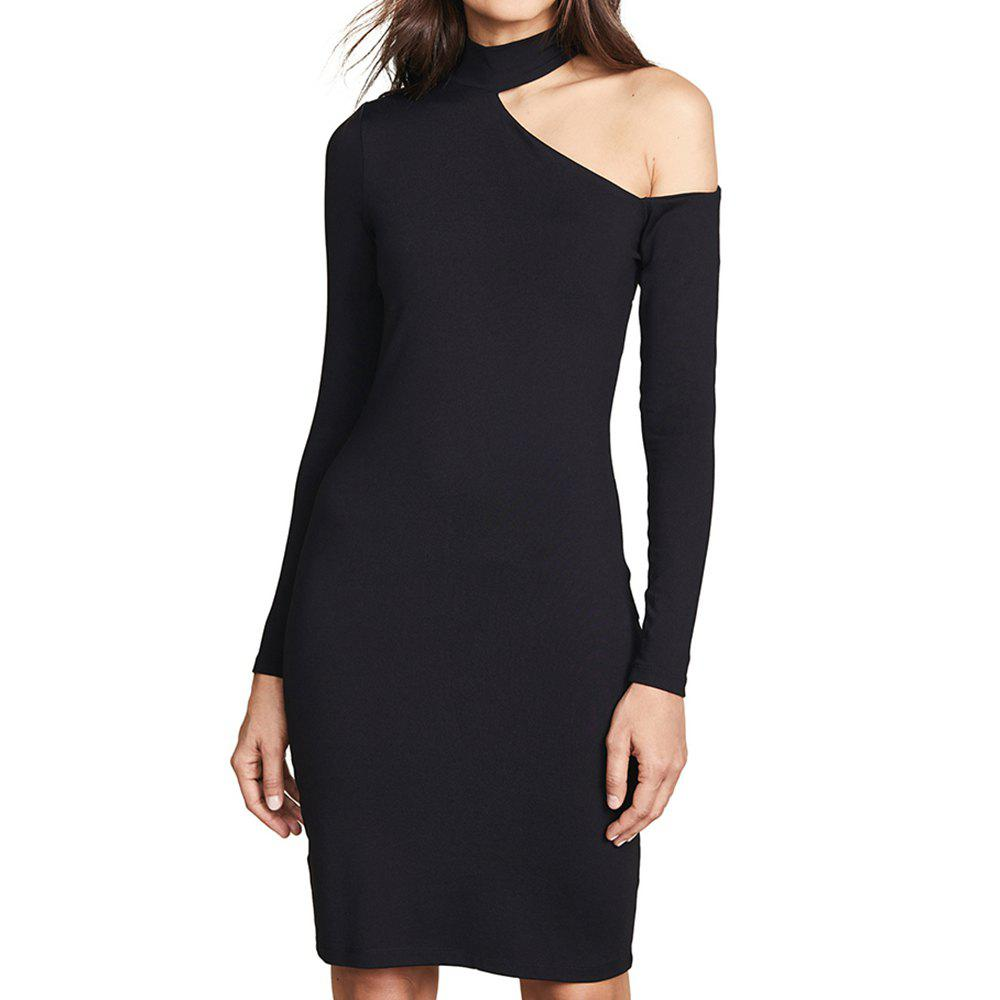 Outfits HAODUOYI Women's Sexy Off-The-Shoulder Slim Half-Neck Dress Black