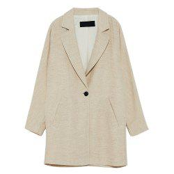 (HAODUOYI)Country Style Loose Lapel Long Sleeve One Button Blazer -