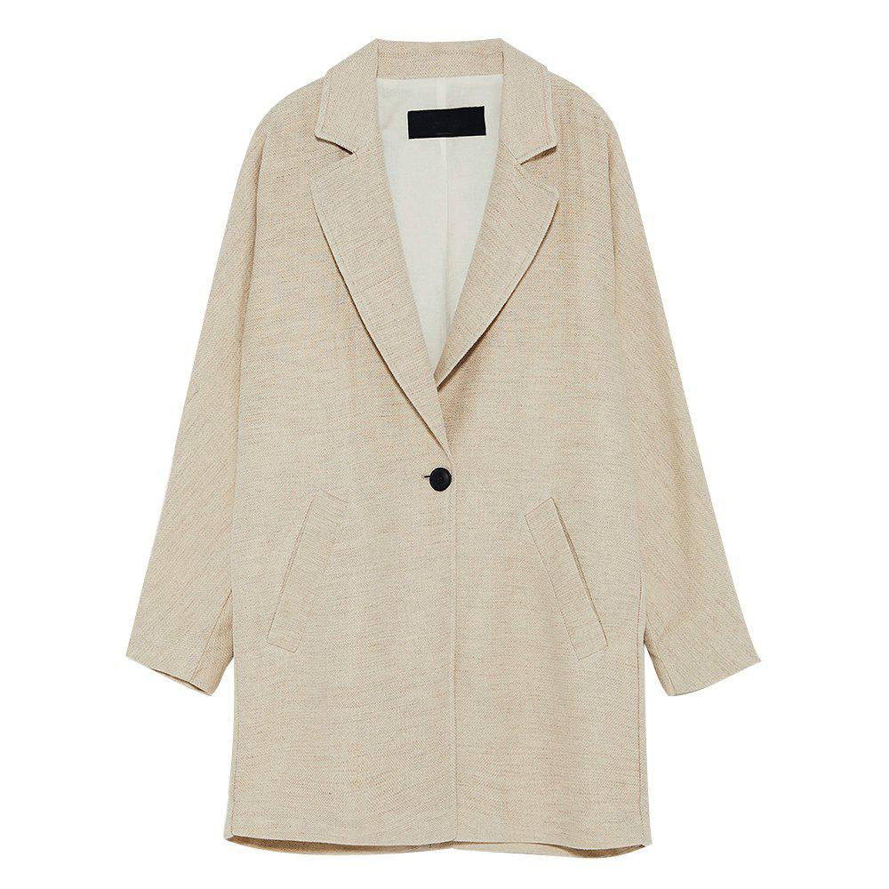 Fashion (HAODUOYI)Country Style Loose Lapel Long Sleeve One Button Blazer