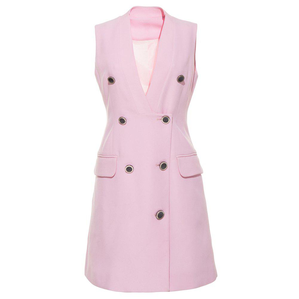 Fashion HAODUOYI Women's V-neck Double Row Multi-Button Double Pocket Blazer Pink
