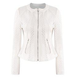 HAODUOYI Women's Britney Fish Net Jacket White -