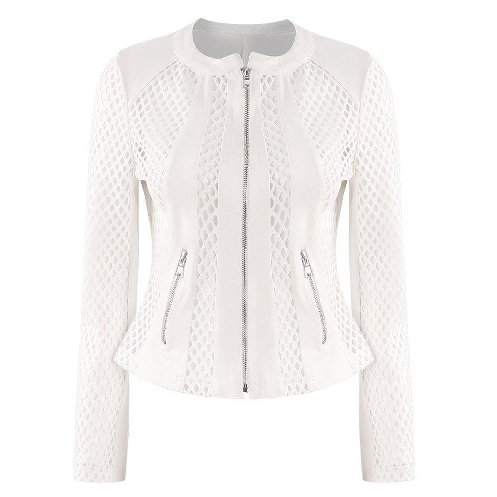 Hot HAODUOYI Women's Britney Fish Net Jacket White