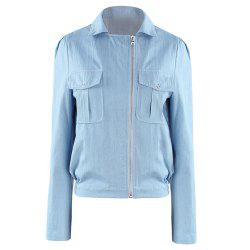 HAODUOYI Women'S Sleek Minimalist  Fabric Jacket Blue -