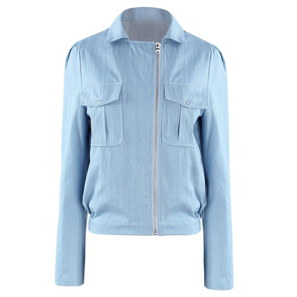 Shops HAODUOYI Women'S Sleek Minimalist  Fabric Jacket Blue