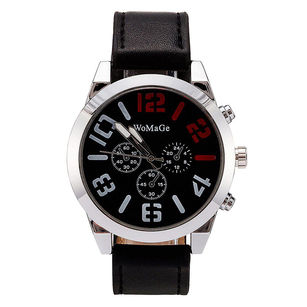 Unique WoMaGe/WMG066Men Watches 2018 Casual Leather Big Face Popular Wristwatches