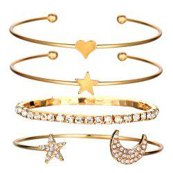 4Pcs Geometric Crystal Star Bracelets Heart For Women -