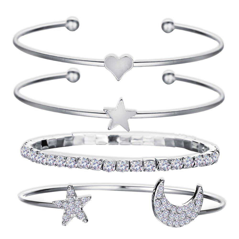 Shops 4Pcs Geometric Crystal Star Bracelets Heart For Women