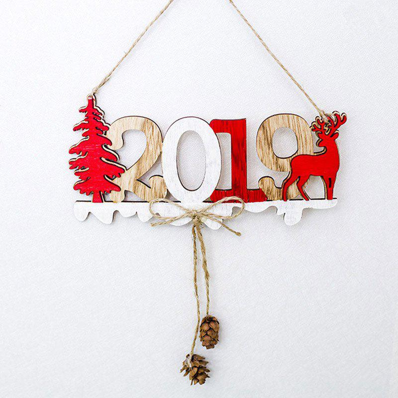 YEDUO 2019 Christmas New Year Door Decoration Hanging Pendant Wooden, Tan