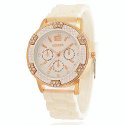 New Fashion Lady Casual Silicone Watch Band Business Diamond Dial Quartz Watch -