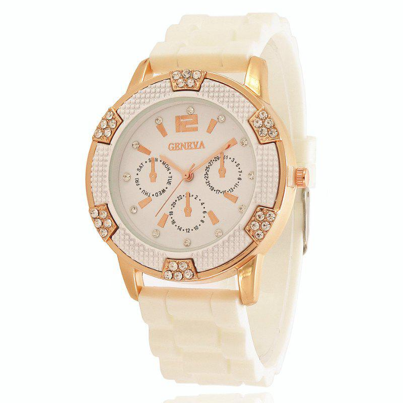New New Fashion Lady Casual Silicone Watch Band Business Diamond Dial Quartz Watch