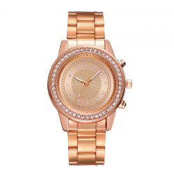 Fashionable Lady Diamond Drill Dial Business Belt Simple Quartz Watch -