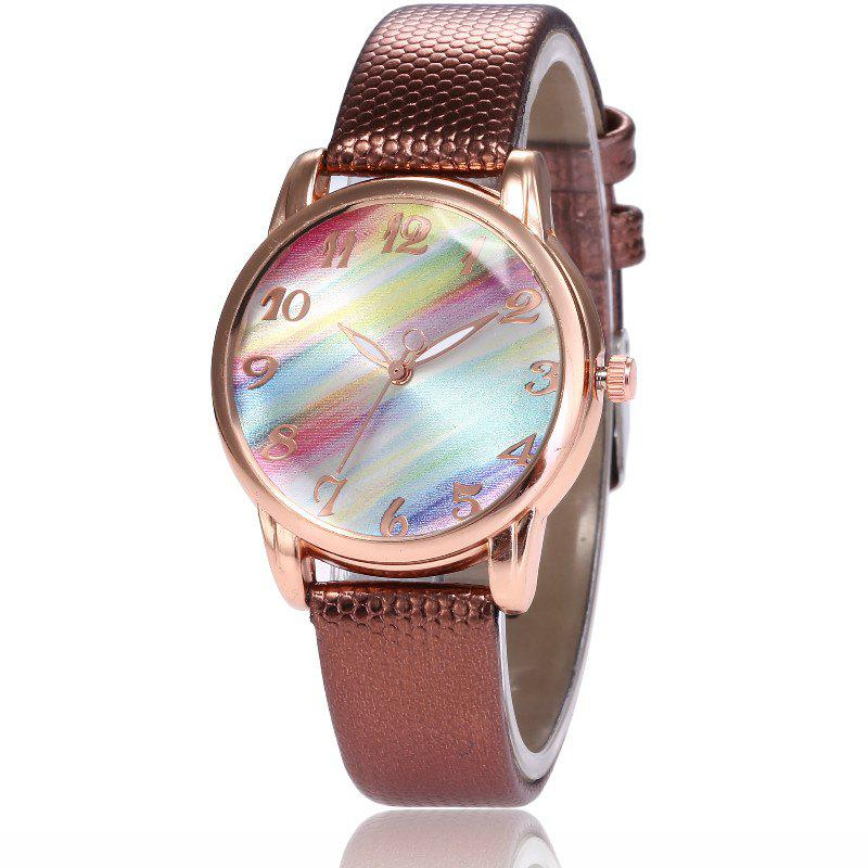 Affordable New Fashion Lady Candy Strap Simple Rainbow Dial Casual Quartz Watch