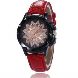 New Fashion Lady Casual Black Shell Simple Flower Quartz Strap Watch -