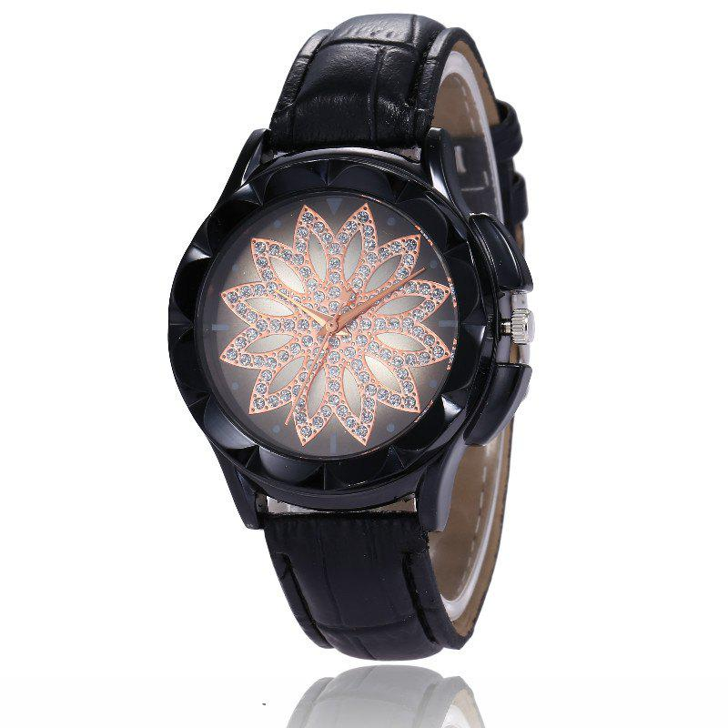 Outfits New Fashion Lady Casual Black Shell Simple Flower Quartz Strap Watch