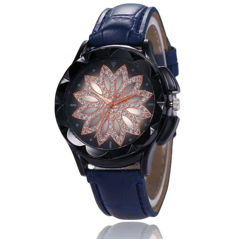 Latest New Fashion Lady Casual Black Shell Simple Flower Quartz Strap Watch